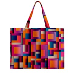 Abstract Background Geometry Blocks Zipper Mini Tote Bag by Simbadda