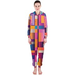 Abstract Background Geometry Blocks Hooded Jumpsuit (ladies)  by Simbadda