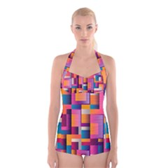 Abstract Background Geometry Blocks Boyleg Halter Swimsuit  by Simbadda