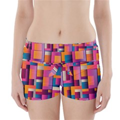 Abstract Background Geometry Blocks Boyleg Bikini Wrap Bottoms by Simbadda