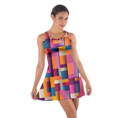 Abstract Background Geometry Blocks Cotton Racerback Dress by Simbadda