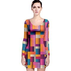 Abstract Background Geometry Blocks Long Sleeve Velvet Bodycon Dress by Simbadda