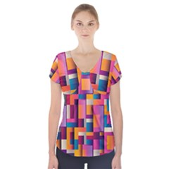 Abstract Background Geometry Blocks Short Sleeve Front Detail Top by Simbadda
