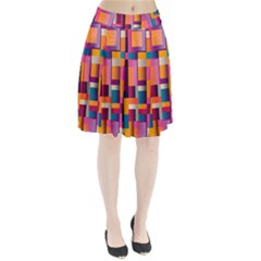 Abstract Background Geometry Blocks Pleated Skirt by Simbadda