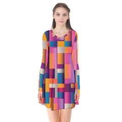 Abstract Background Geometry Blocks Flare Dress by Simbadda