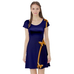 Greeting Card Invitation Blue Short Sleeve Skater Dress