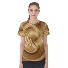 Gold Background Texture Pattern Women s Cotton Tee by Simbadda