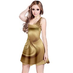 Gold Background Texture Pattern Reversible Sleeveless Dress by Simbadda