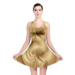 Gold Background Texture Pattern Reversible Skater Dress by Simbadda