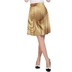 Gold Background Texture Pattern A Line Skirt by Simbadda