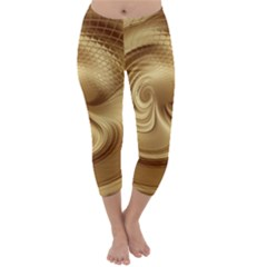 Gold Background Texture Pattern Capri Winter Leggings  by Simbadda