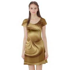 Gold Background Texture Pattern Short Sleeve Skater Dress by Simbadda