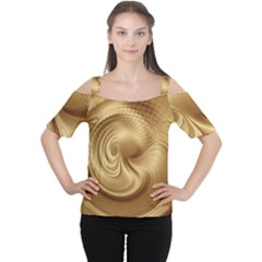 Gold Background Texture Pattern Women s Cutout Shoulder Tee by Simbadda