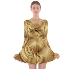 Gold Background Texture Pattern Long Sleeve Skater Dress by Simbadda