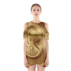 Gold Background Texture Pattern Shoulder Cutout One Piece by Simbadda