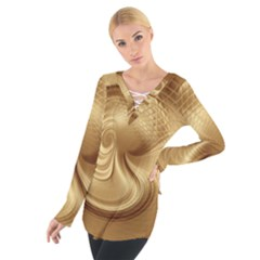 Gold Background Texture Pattern Women s Tie Up Tee by Simbadda