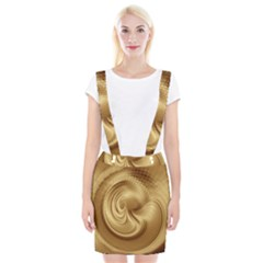 Gold Background Texture Pattern Suspender Skirt by Simbadda