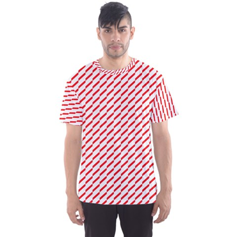 Pattern Red White Background Men s Sport Mesh Tee by Simbadda