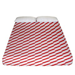 Pattern Red White Background Fitted Sheet (king Size) by Simbadda