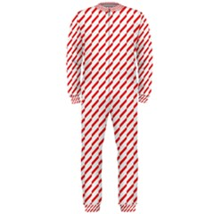 Pattern Red White Background Onepiece Jumpsuit (men)  by Simbadda