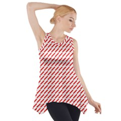 Pattern Red White Background Side Drop Tank Tunic