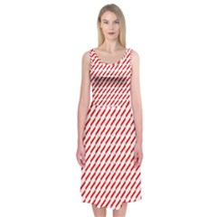 Pattern Red White Background Midi Sleeveless Dress by Simbadda