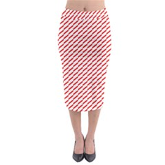 Pattern Red White Background Midi Pencil Skirt by Simbadda