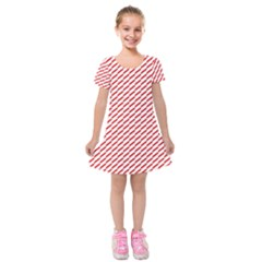 Pattern Red White Background Kids  Short Sleeve Velvet Dress