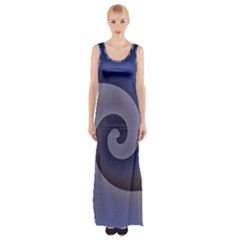 Logo Wave Design Abstract Maxi Thigh Split Dress by Simbadda