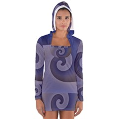 Logo Wave Design Abstract Women s Long Sleeve Hooded T-shirt by Simbadda
