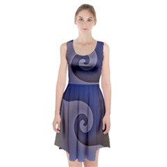 Logo Wave Design Abstract Racerback Midi Dress by Simbadda