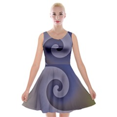 Logo Wave Design Abstract Velvet Skater Dress