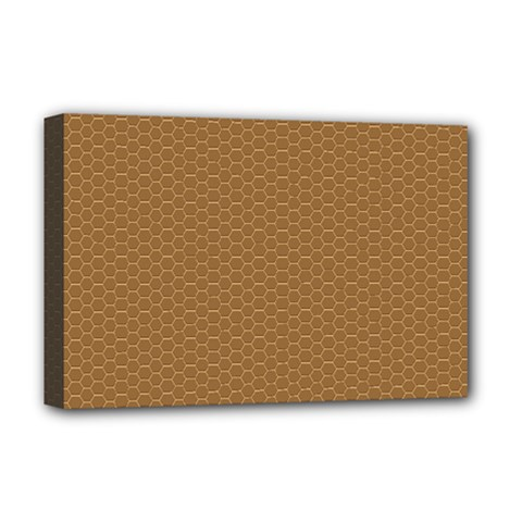Pattern Honeycomb Pattern Brown Deluxe Canvas 18  X 12   by Simbadda