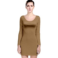 Pattern Honeycomb Pattern Brown Long Sleeve Velvet Bodycon Dress by Simbadda