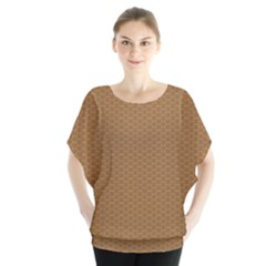 Pattern Honeycomb Pattern Brown Blouse by Simbadda