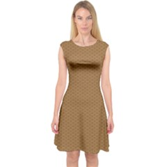 Pattern Honeycomb Pattern Brown Capsleeve Midi Dress