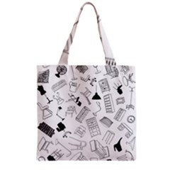 Furniture Black Decor Pattern Grocery Tote Bag by Simbadda
