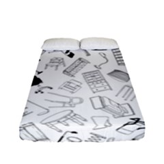 Furniture Black Decor Pattern Fitted Sheet (full/ Double Size) by Simbadda