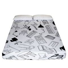 Furniture Black Decor Pattern Fitted Sheet (california King Size) by Simbadda