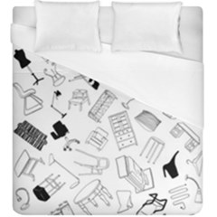 Furniture Black Decor Pattern Duvet Cover (king Size) by Simbadda