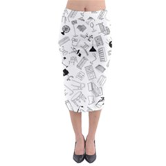 Furniture Black Decor Pattern Midi Pencil Skirt by Simbadda