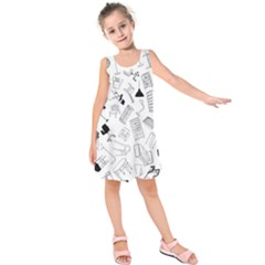Furniture Black Decor Pattern Kids  Sleeveless Dress by Simbadda