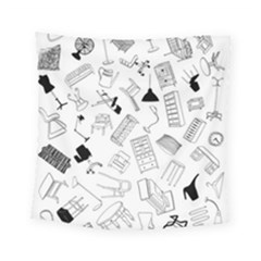 Furniture Black Decor Pattern Square Tapestry (small) by Simbadda