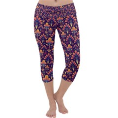 Abstract Background Floral Pattern Capri Yoga Leggings by Simbadda