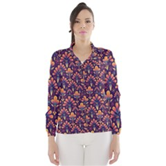 Abstract Background Floral Pattern Wind Breaker (women) by Simbadda