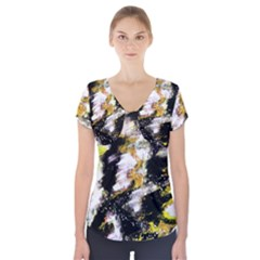 Canvas Acrylic Digital Design Short Sleeve Front Detail Top