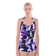 Canvas Acrylic Digital Design Boyleg Halter Swimsuit  by Simbadda