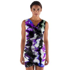 Canvas Acrylic Digital Design Wrap Front Bodycon Dress by Simbadda