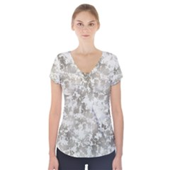Wall Rock Pattern Structure Dirty Short Sleeve Front Detail Top by Simbadda