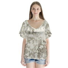 Wall Rock Pattern Structure Dirty Flutter Sleeve Top by Simbadda